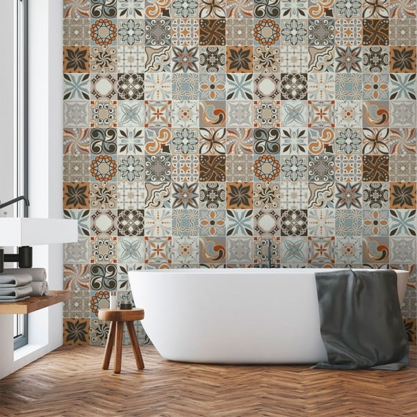 Wall Decal Cement Tiles Bali 30 db-os falmatrica szett, 15 x 15 cm - Ambiance