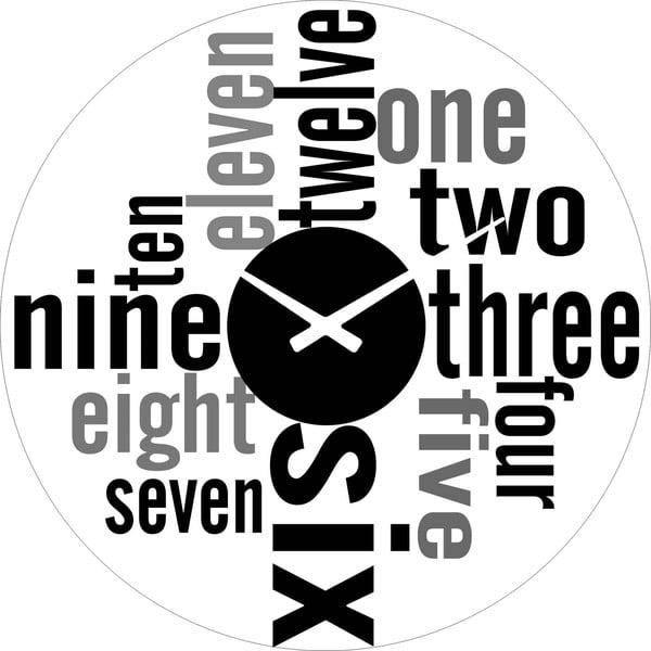 Skleněné hodiny Čísla, 38 cm