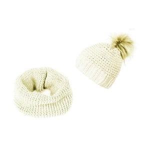 Krémová čepice a šála Lavaii Elegant