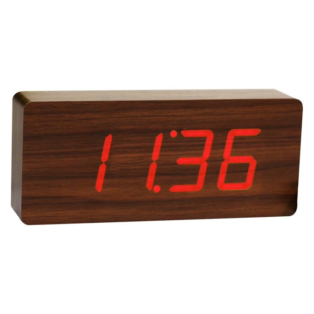 Tmavě hnědý budík s červeným LED displejem Gingko Slab Click Clock