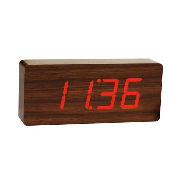 Slab Click Clock sötétbarna ébresztőóra piros LED kijelzővel - Gingko