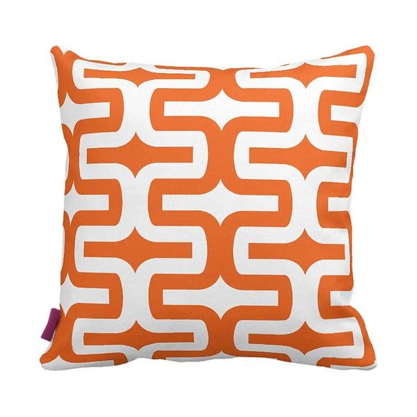 Oranžovobílý polštář Retro Orange, 43x43cm