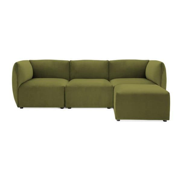 Canapea modulară cu 3 locuri și suport pentru picioare Vivonita Velvet Cube, verde măsliniu