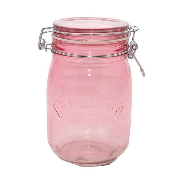 Sklenice na suché potraviny s klipem Kilner, 1 l, růžová