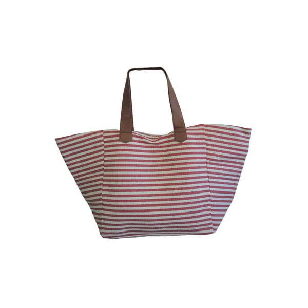 Plážová taška Stripes, béžovo - červená