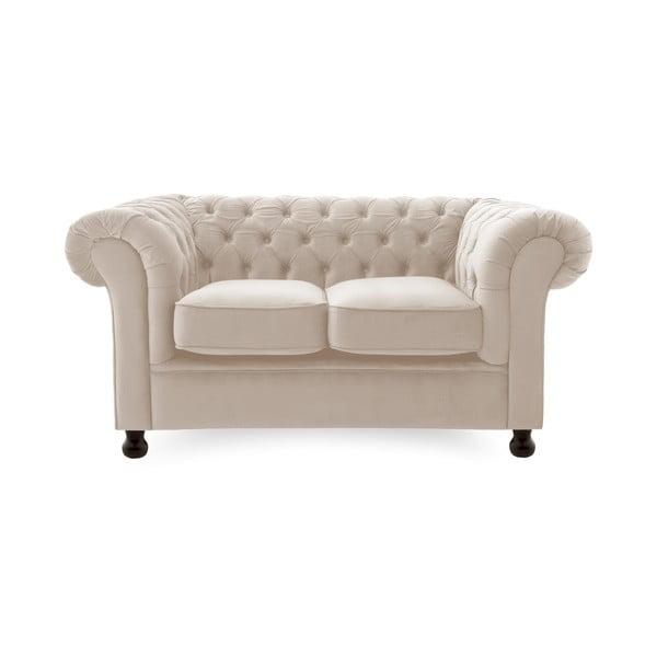 Canapea 2 locuri Vivonita Chesterfield Silky, gri deschis