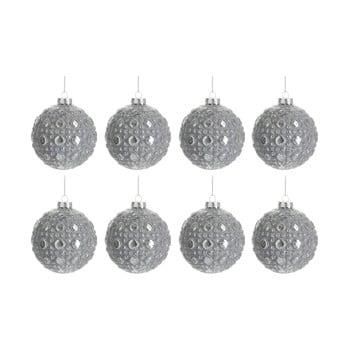 Set 8 globuri din sticlă pentru Crăciun J-Line Bauble, ø 7,8 cm, argintiu imagine