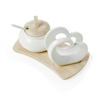 Set zaharniță și suport pentru șervețele din porțelan cu suport din bambus Brandani Double Heart