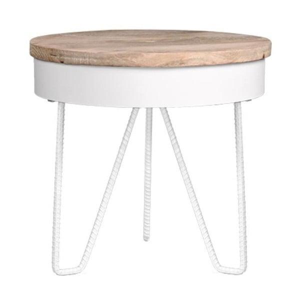 Saran fehér tárolóasztal fa asztallappal - LABEL51
