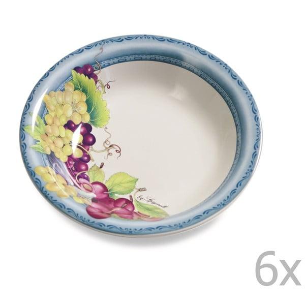 Sada 6 polévkových talířů Blue Garden, 21 cm