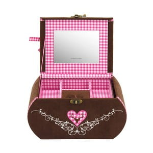 Šperkovnice Bagvaria Brown/Pink, 22x14,5x13,5 cm