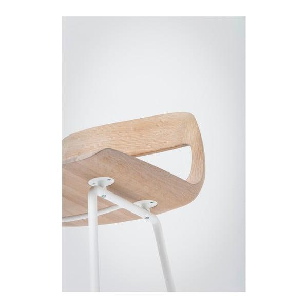 Barová židle se sedákem z masivního dubového dřeva a bílými nohami Gazzda Leina, výška94cm