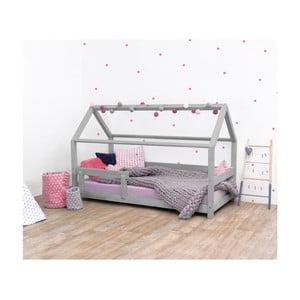 Šedá dětská postel s bočnicemi ze smrkového dřeva Benlemi Tery, 90 x 190 cm
