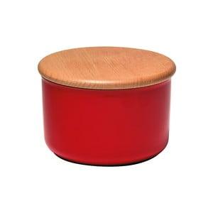 Červená dóza s dřevěným víčkem Emile Henry, objem 0,3 l