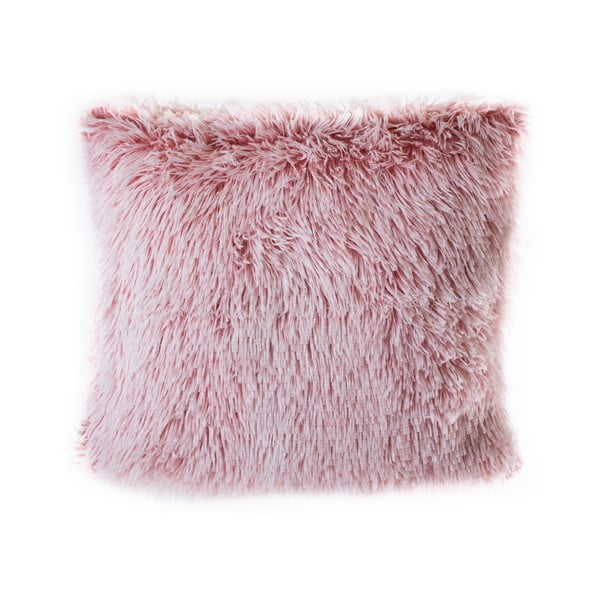 Różowa poduszka z włosiem JAHU Peluto, 45x45 cm