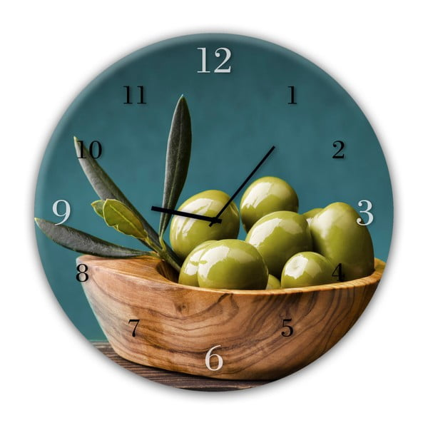 Ceas de perete Styler Glassclock Olives, ⌀ 30 cm