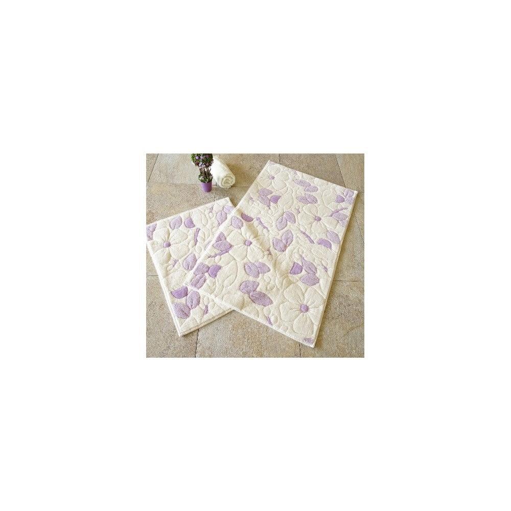 Sada 2 béžovo-fialových koupelnových bavlněných předložek Hukumi Razmo