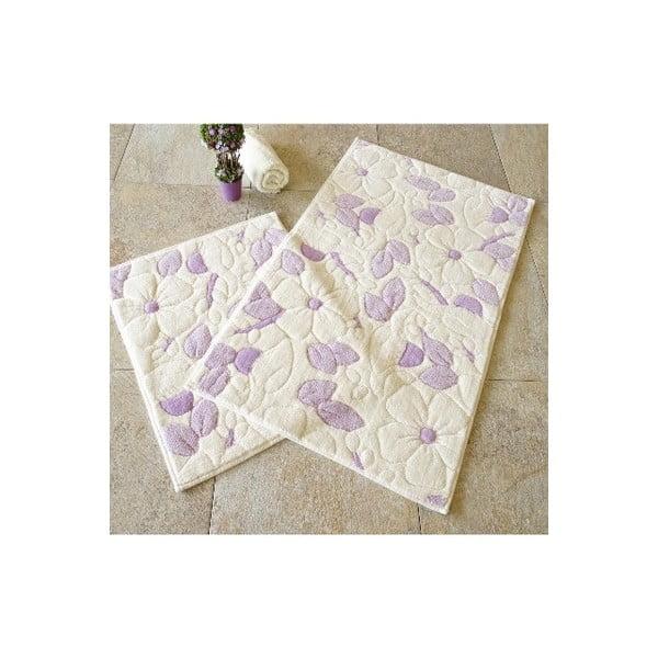 Sada 2 béžovo-fialových kúpeľnových bavlnených predložiek Hukumi Razmo