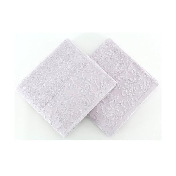 Sada 2 světle fialových ručníků ze 100% bavlny Burumcuk, 50 x 90 cm