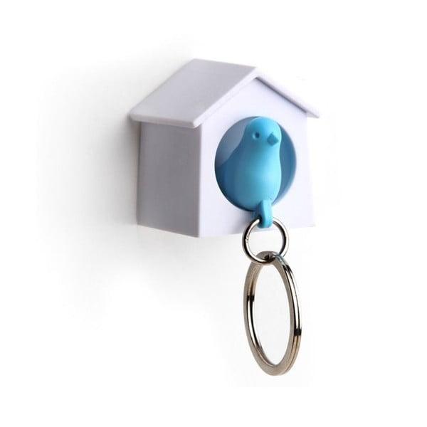 Věšák na klíče vrabčák v budce MINI, modrá