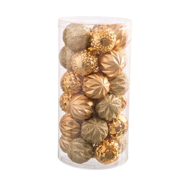 Set 30 decorațiuni de Crăciun Unimasa Labbas, auriu