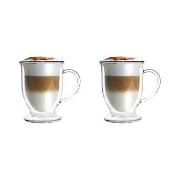 Set 2 căni din sticlă dublă pentru latte Vialli Design, 250 ml imagine