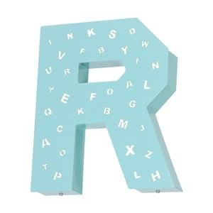 Tyrkysová světelná dekorace ve tvaru písmene Glimte Letter R