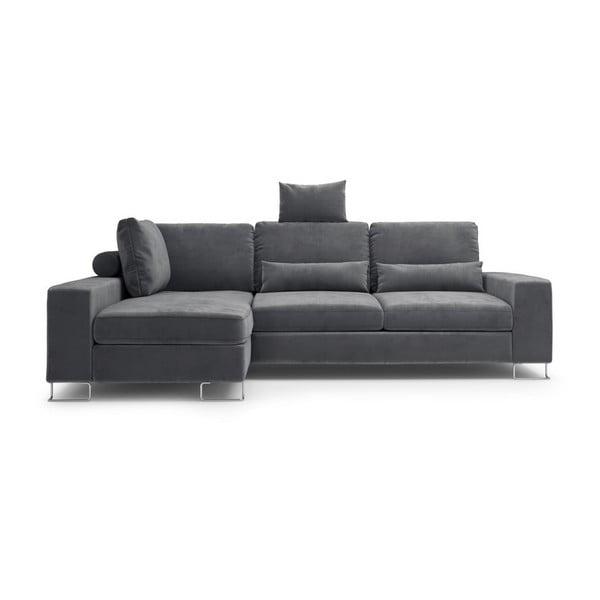 Tmavosivá rozkladacia rohová pohovka so zamatovým poťahom Windsor & Co Sofas Diane, ľavý roh