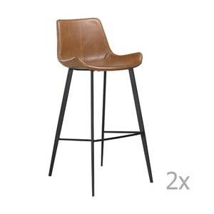 Sada 2 hnědých  barových židlí DAN– FORM Hype