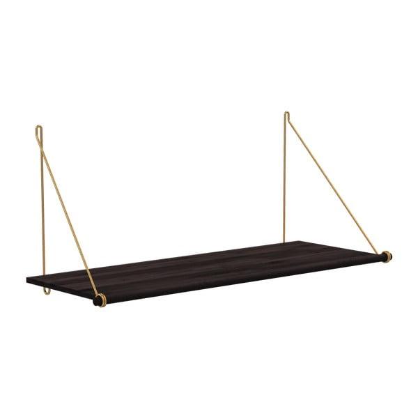 Loop fekete bambusz fali polc, sárgaréz rögzítőkkel - We Do Wood