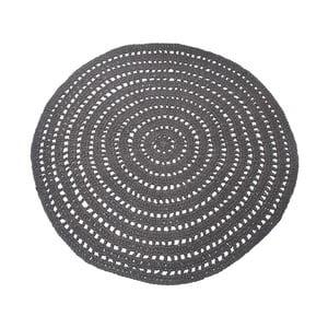 Tmavě šedý kruhový bavlněný koberec LABEL51 Knitted, ⌀150cm