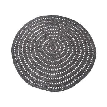 Covor rotund din bumbac LABEL51 Knitted, ⌀150cm, gri închis de la LABEL51