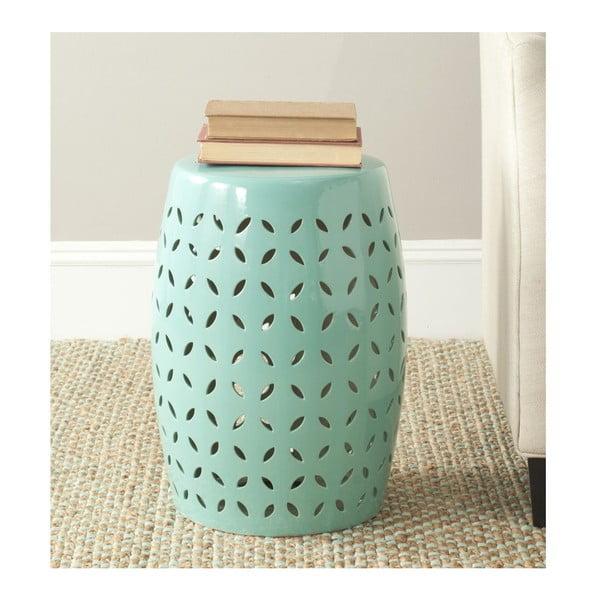 Tyrkysový keramický stolek vhodný do exteriéru Safavieh Lattice Petal