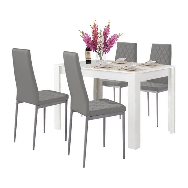Set bílého jídelní stolu a 4 šedých jídelních židlí Støraa Lori and Barak, 120x80cm