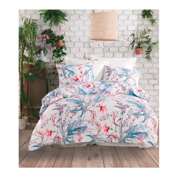 Lenjerie de pat din bumbac ranforce pentru pat de 1 persoană Mijolnir Doris White, 140 x 200 cm