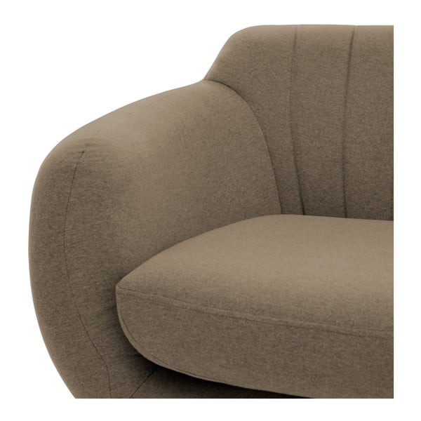 Canapea 3 locuri cu picioare negre Vivonia Kennet, gri - maro