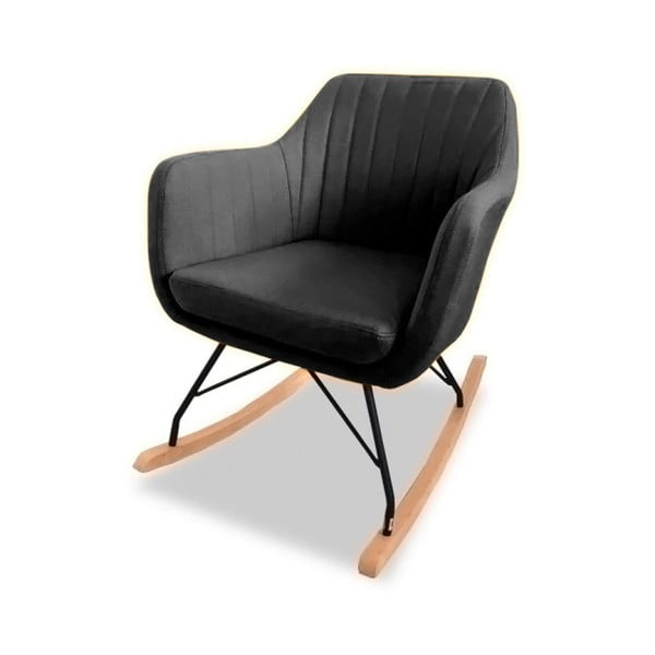 Czarny fotel bujany VIDA Living Kat
