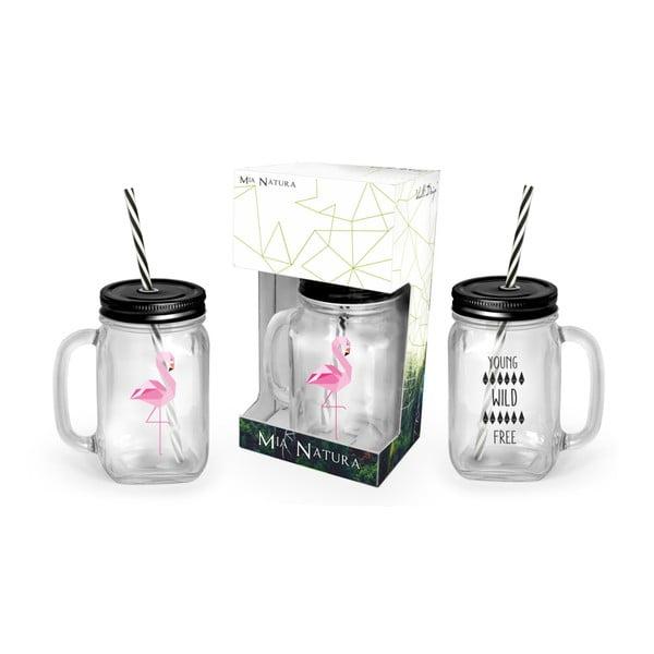 Borcan cu pai și capac Vialli Design Mia Natura Flamingo, 450 ml