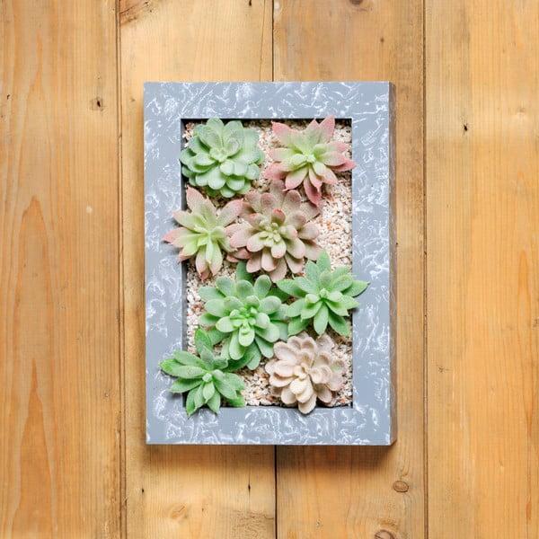 Nástěnný květináč s umělými sukulenty Urban Botanist Wall, 30x18 cm