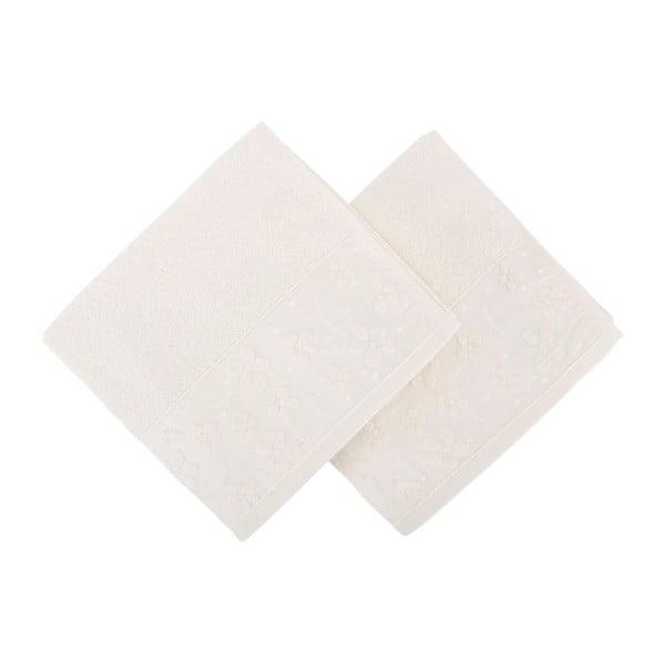 Sada 2 bílých ručníků z čisté bavlny Mariana, 50 x 90 cm