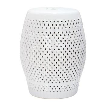 Măsuță din ceramică adecvată pentru exterior Safavieh Diamond, ø35cm, alb imagine