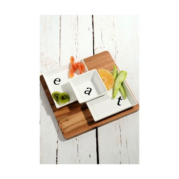 Bambusový podnos s 3 porcelánovými miskami Eat, 26 x 26 cm