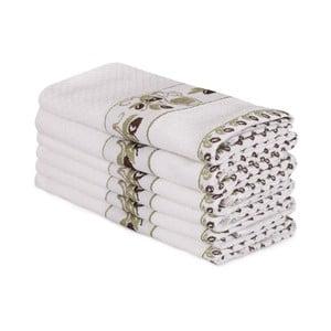 Sada 6 béžových bavlněných ručníků Beyaz Lento, 30 x 50 cm