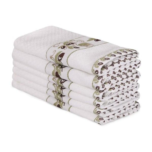 Sada 6 bílých bavlněných ručníků Beyaz Lento, 30 x 50 cm