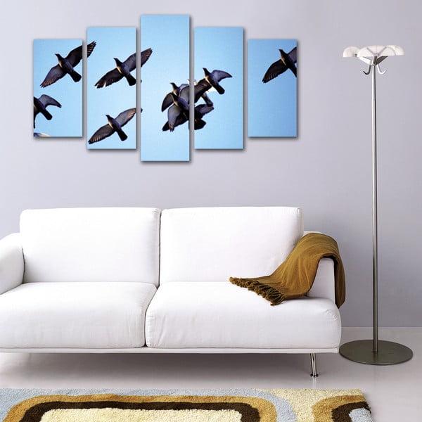 5dílný obraz Hejno ptáků