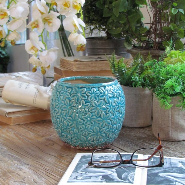 Váza Flowers Turquoise, 16x15 cm