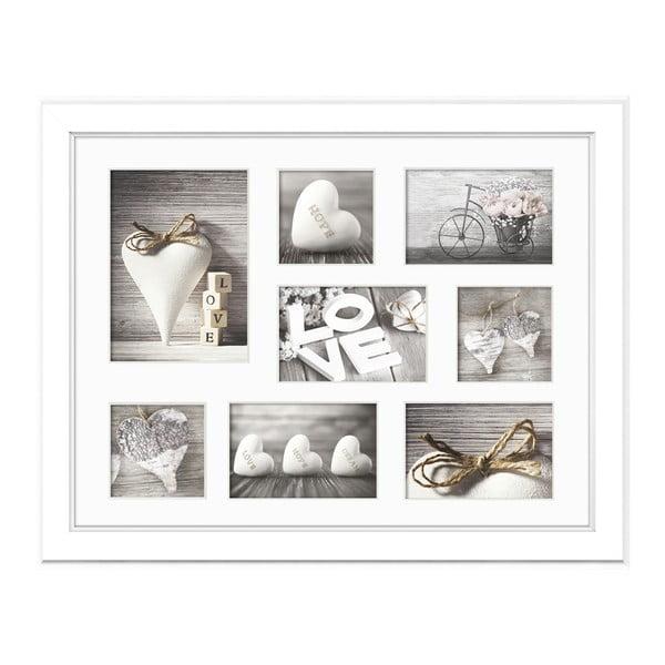 Bílý rámeček na 8 fotografií Styler Galeria Malmo, 41x51cm