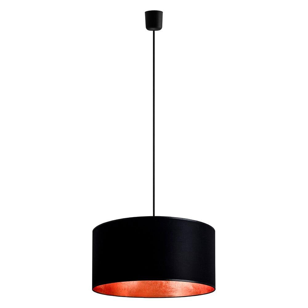 Černé stropní svítidlo s detailem v měděné barvě Sotto Luce Mika, Ø40 cm