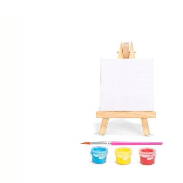 Mini festővászon, ecsettel és 3 színnel - Kikkerland