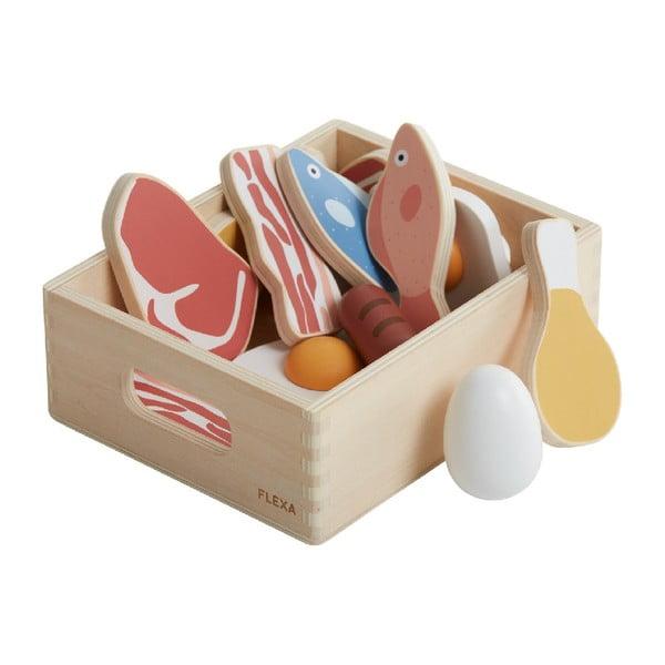 Dřevěný dětský hrací set Flexa Toys Fish & meat